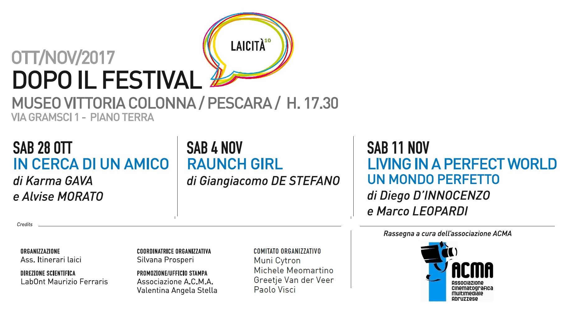 Al via Laicità CINEMA a Pescara. Sabato 28 la prima proiezione